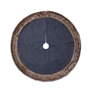 Dress Denim Tree Skirt with Faux Fur Trim