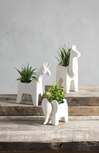 Llama Planter with Faux Plant