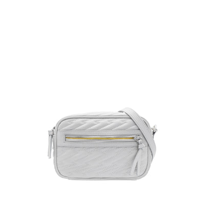 Audrey Light Grey Vegan Leather Crossbody Camera Bag with Lightning Bolt Stitching Detail and Yellow Lining. Pantone 2021 Colors of the Year.