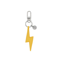 Yellow Force of Nature Lightning Bolt Vegan Leather Charm Keychain
