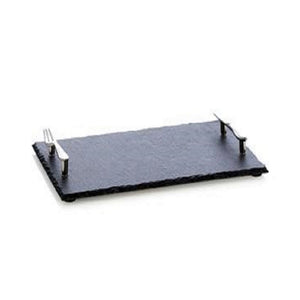 "12"" Slate Cheese Board with Fork and Knife Handles"
