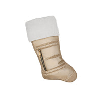 Matte Gold Puffer Christmas Stocking with Faux Sherpa - PRESALE