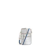 Silver Puffer Phone Crossbody Bag Purse