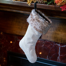 Ticking Stripe Stocking with Faux Fur Cuff