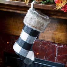 Cabin Blanket Stocking in Black and White