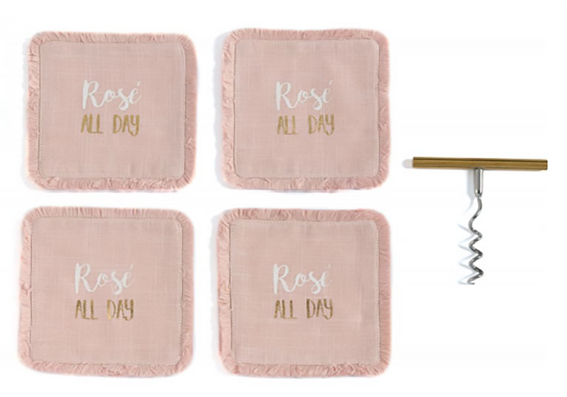 "4 Coaster and Corkscrew Set, ""Rosé All Day"""