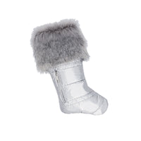 Matte Silver Puffer Christmas Stocking with Faux Fur