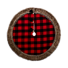 Red And Black Cabin Blanket Tree Skirt With Faux Fur Trim