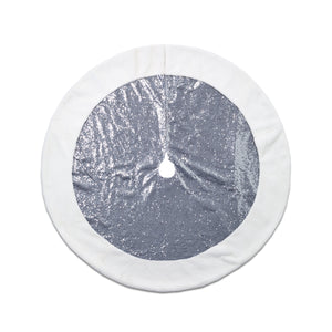 Reflective Silver Sequin Tree Skirt