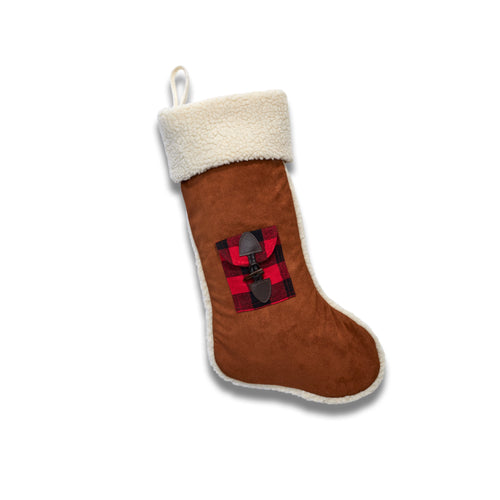 Faux Shearling Stocking With Gift Card Pocket