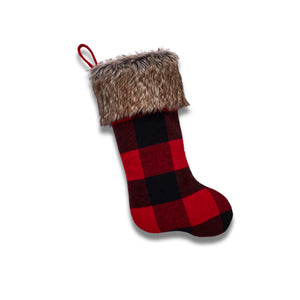 Cabin Blanket Stocking in Red And Black