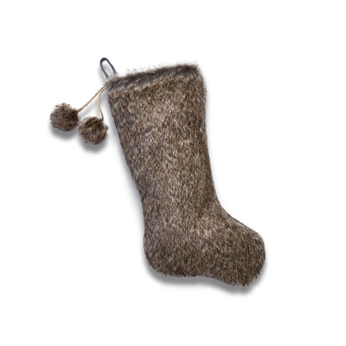 Luxe Faux Fur Stocking with Fur Pom Poms