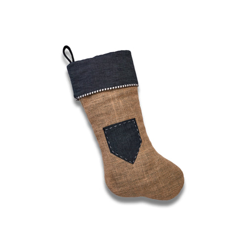 Jute Stocking with Dress Denim Gift Card Pocket
