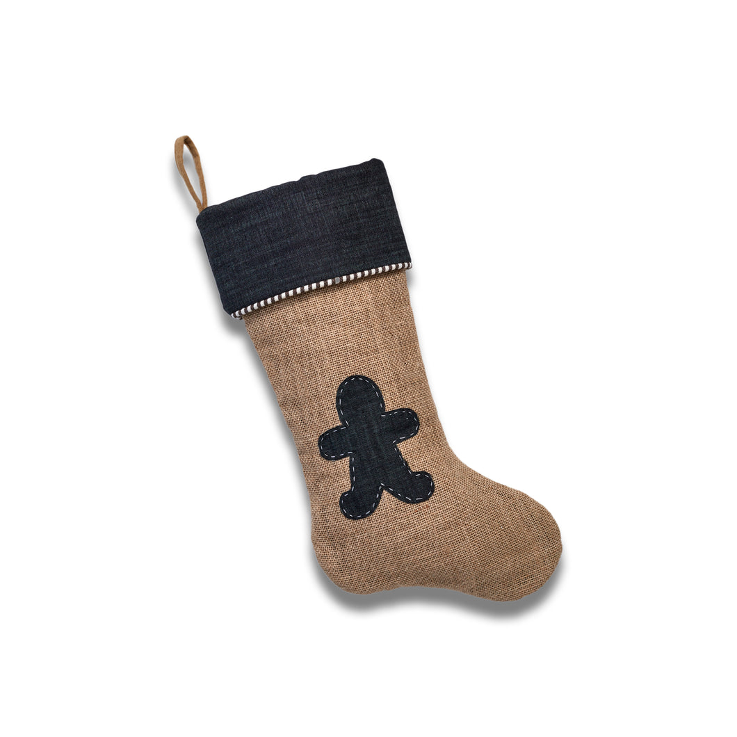 Jute Stocking with Dress Denim Gingerbread Man