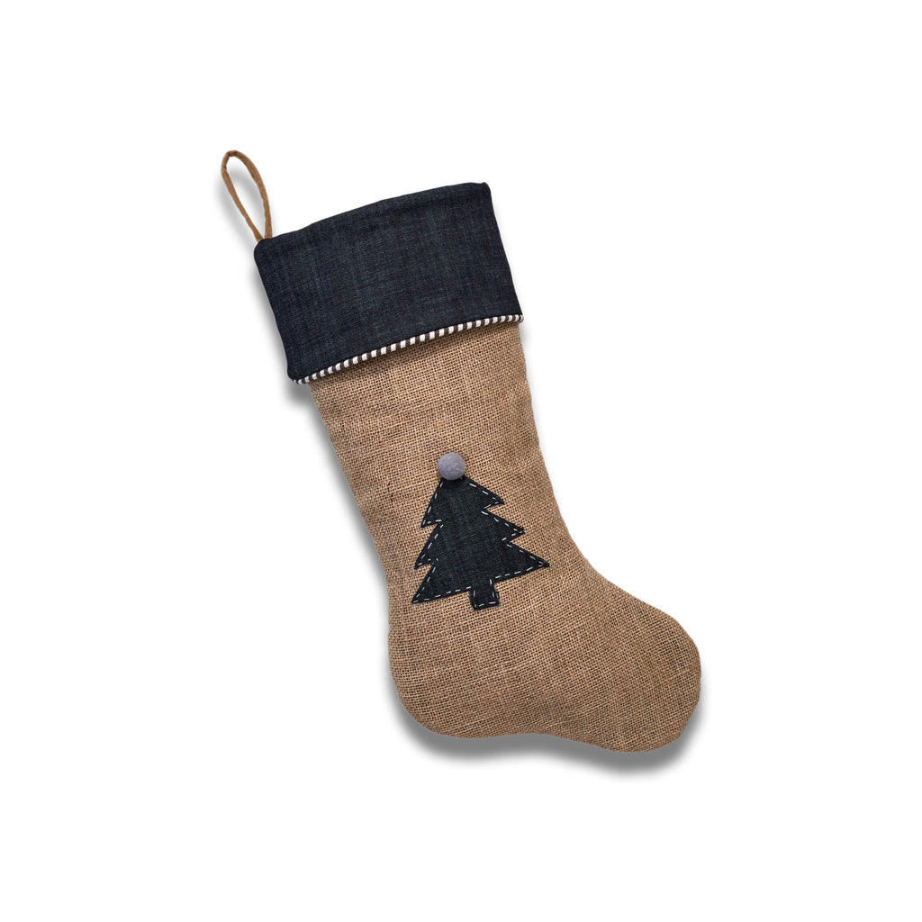 Jute Stocking with Dress Denim Christmas Tree