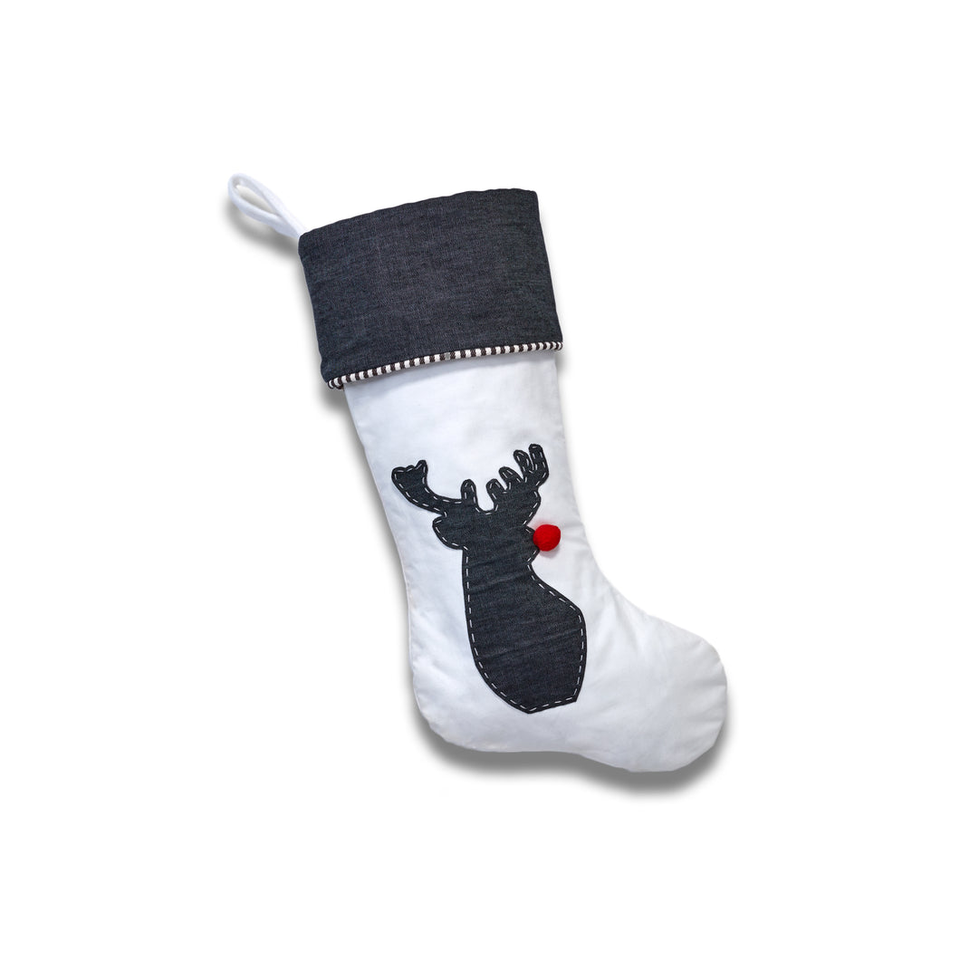 Rudolph - Our White Canvas Stocking With Dress Denim Applique