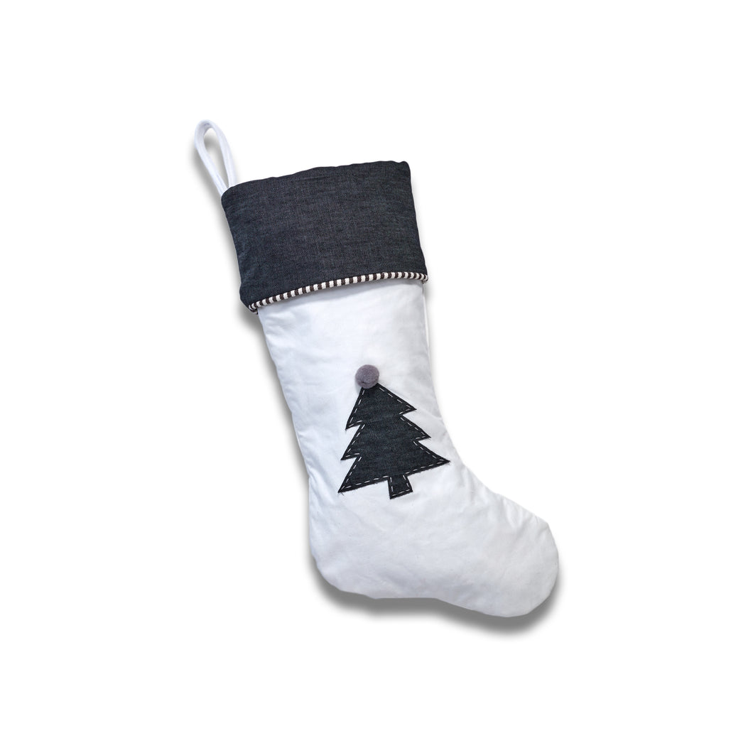 Crisp White Canvas Stocking with Christmas Tree Applique