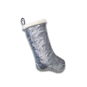 Reflective Silver Sequin Stocking