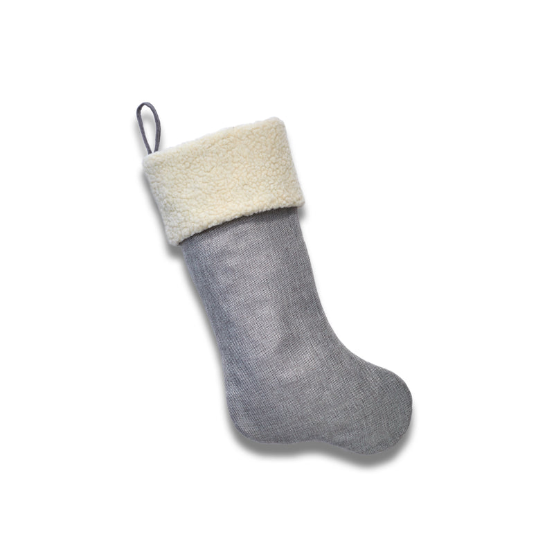 Silver Faux Burlap Stocking