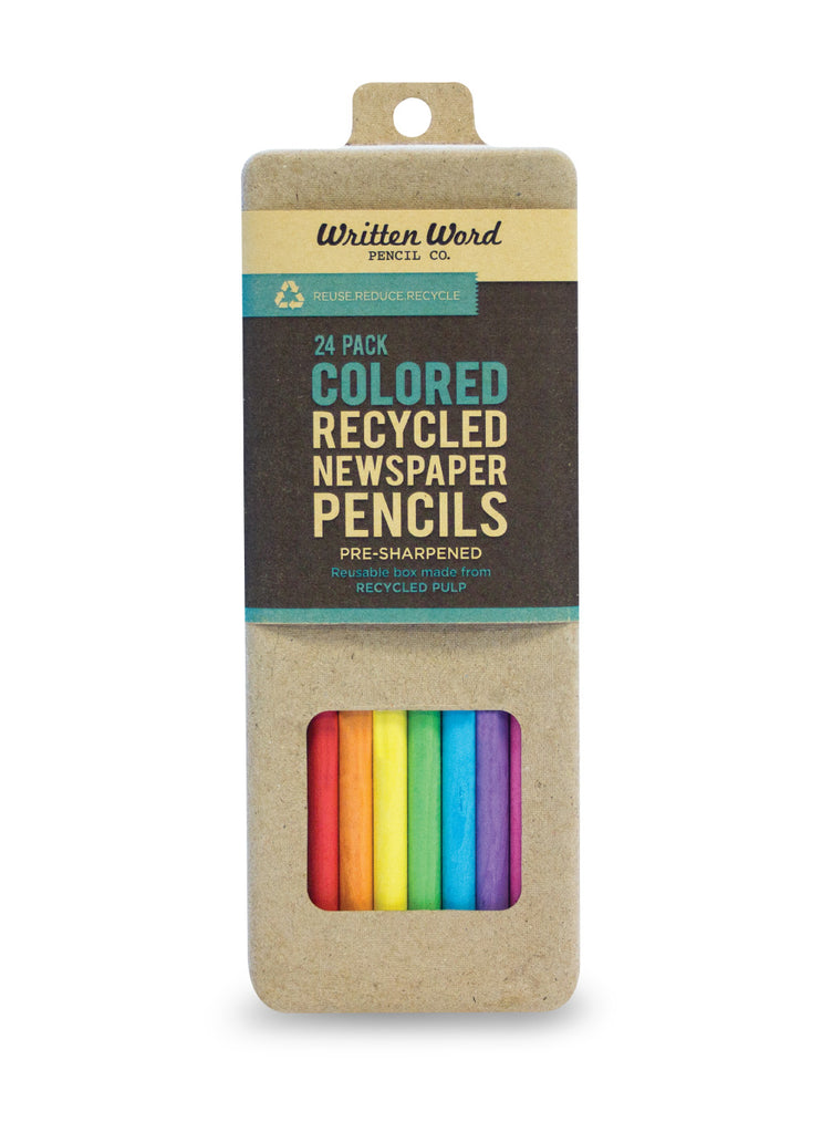 Colored Recycled Newspaper Pencils - 24 Pack