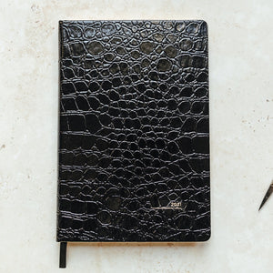 2021 A5 Black Croc Week to View Diary