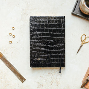 A5 Undated Planner, Faux Black croc leather diary
