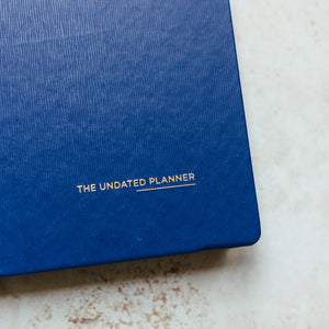 A5 Undated Planner, Faux Blue leather