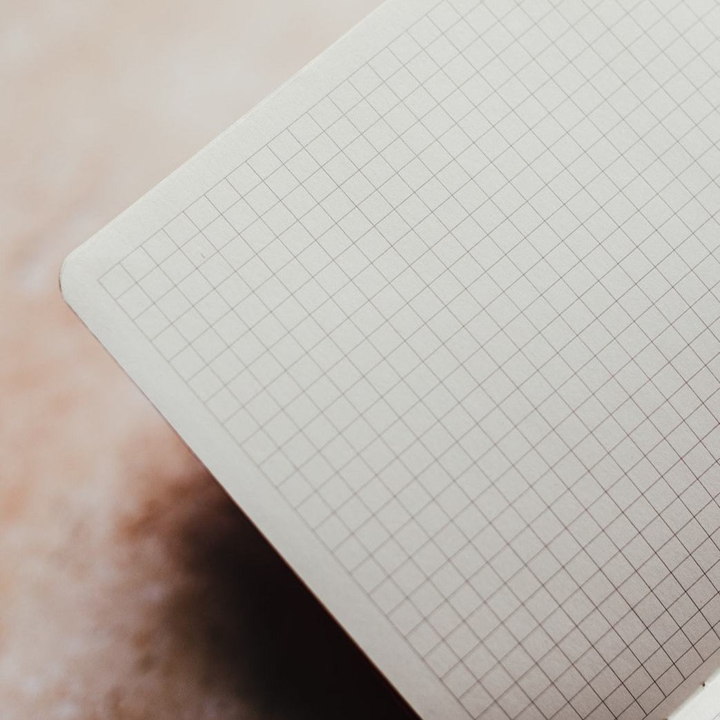 The Minimalist: Grey A5 Square Grid notebook