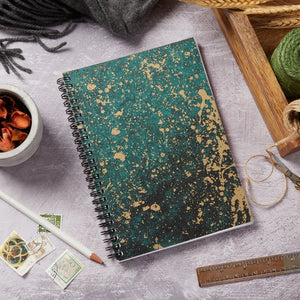 A5 wiro notebook, Green and gold foil cover