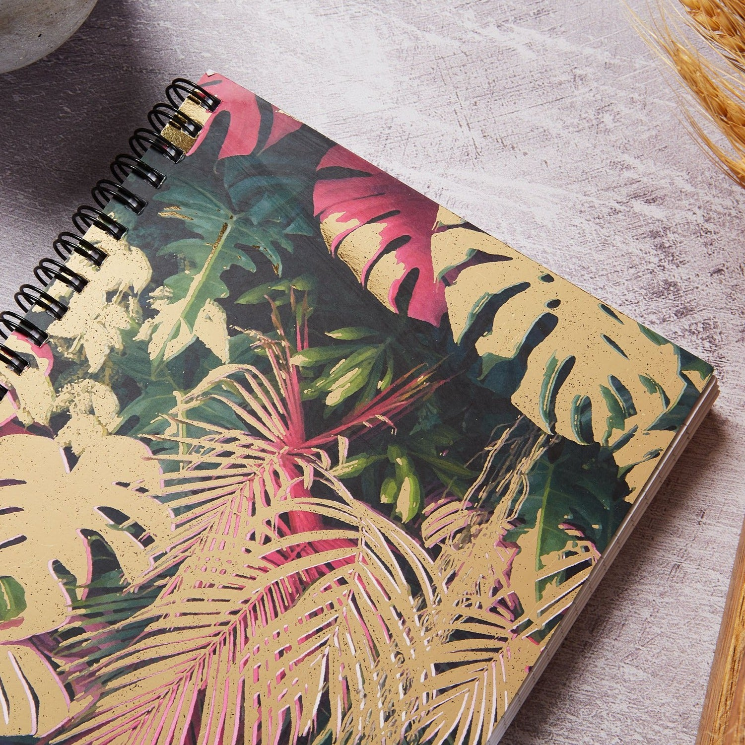 A5 wiro notebook, Botanical and gold foil cover