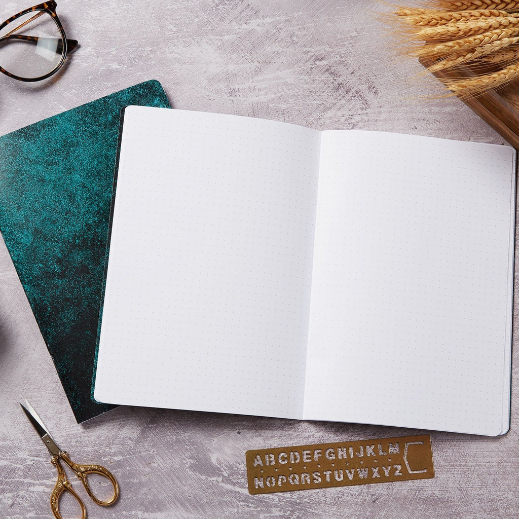 Green haze 2 pack dot grid and lined notebook