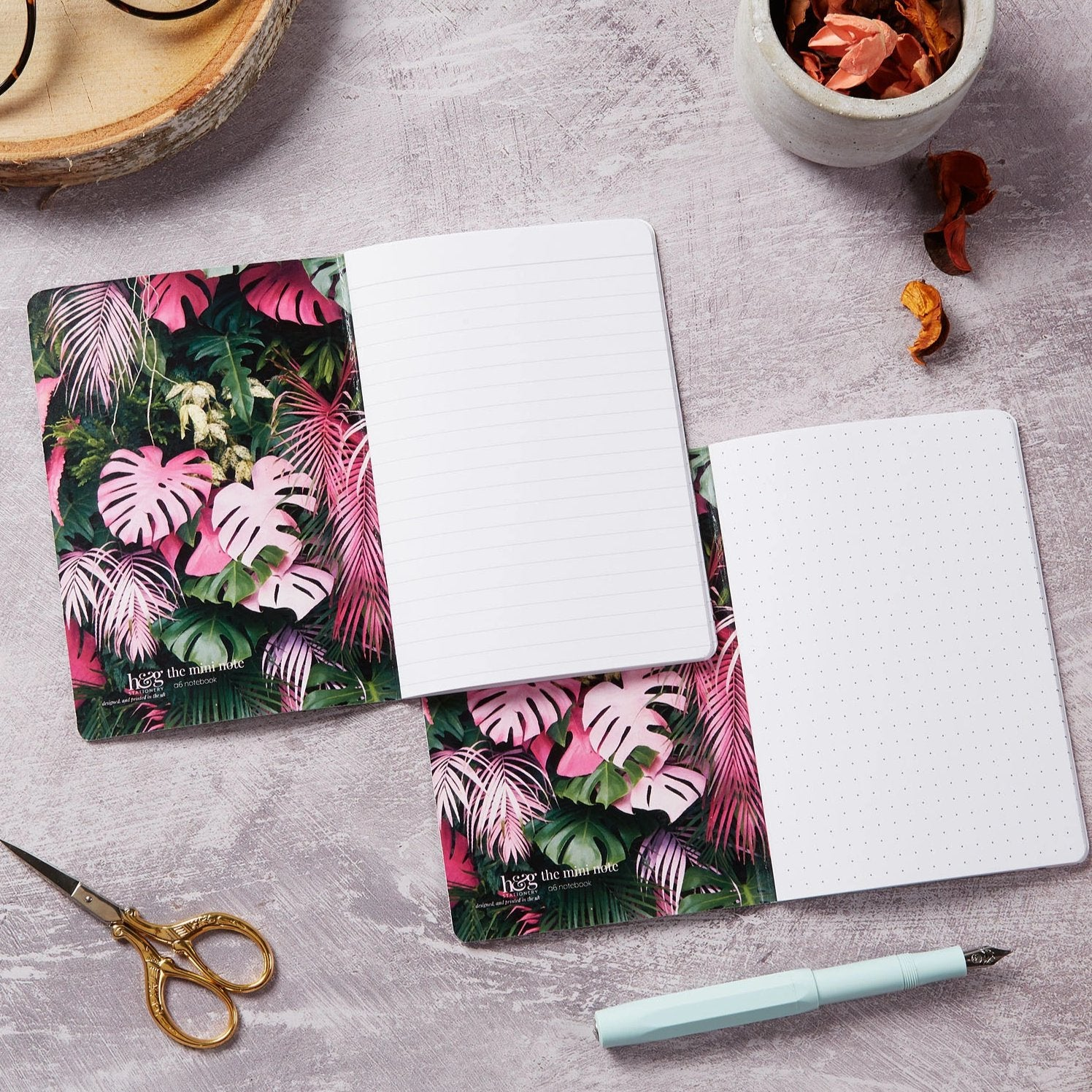 Botanical 2 pack dot grid and lined notebook