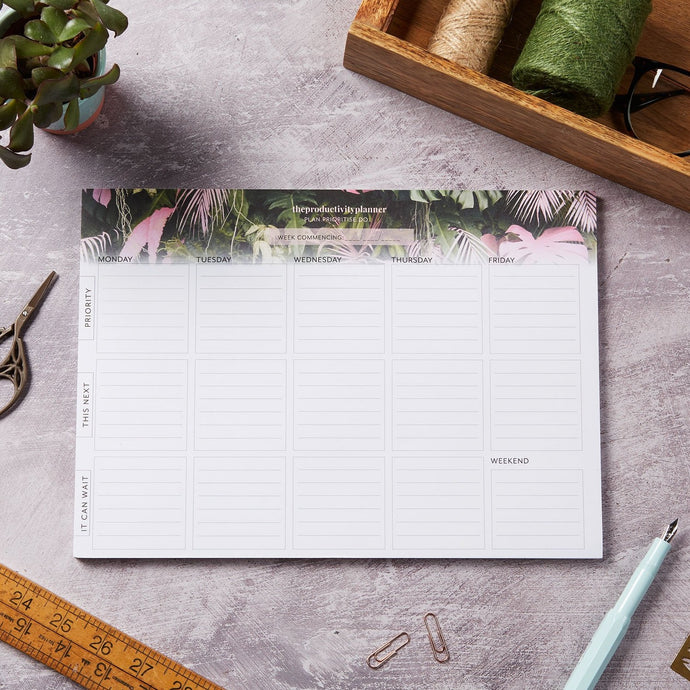 A4 productivity planner desk pad - Botanical