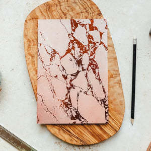Pink marble and foil thin a5 notebook