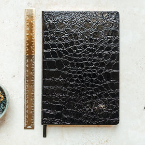 2021 A5 Black Croc Day to View Diary