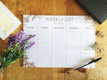 Sepia floral weekly list