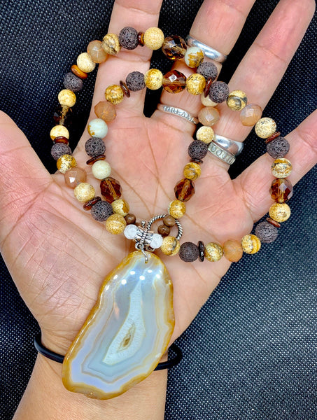 CITRINE JASPER with BROWN LAVA STONES NECKLACE