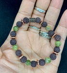 UNAKITE AND BROWN LAVA BRACELET
