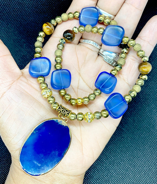 BLUE AND GOLD PENDANT NECKLACE with TIGERS EYE
