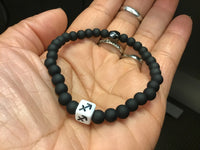 BLACK WITH WHITE CUBE ZODIAC BRACELETS