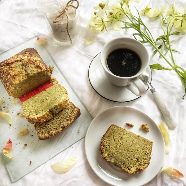 Matcha and Almond Loaf by Pragya