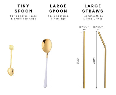 Golden Spoons & Straws for Iced Drinks & Smoothies - Wellness Lab®
