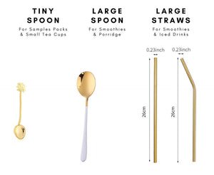 Golden Spoons & Straws for Iced Drinks & Smoothies - Wellness Lab Ltd