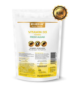 Vegan Vitamin D3 1000iu | From Algae | 90 tablets | 3 months - Wellness Lab Ltd