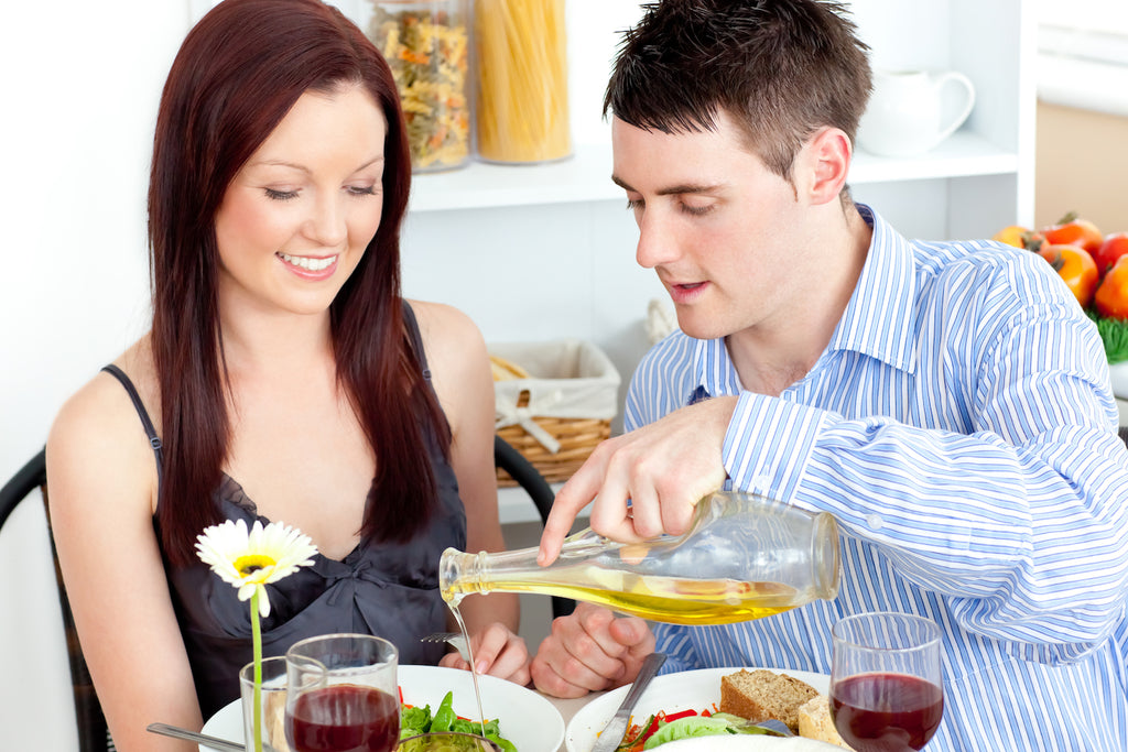 Couple having a romantic Valentines dinner at home