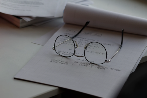 Glasses atop notebook
