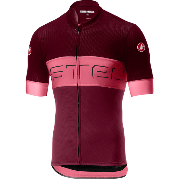 Castelli Men's Prologo VI Short Sleeve Jersey (Barbaresco Red/Pink/Granata Red)