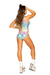 Cutout Rainbow Splash Bodysuit with Zipper Closure