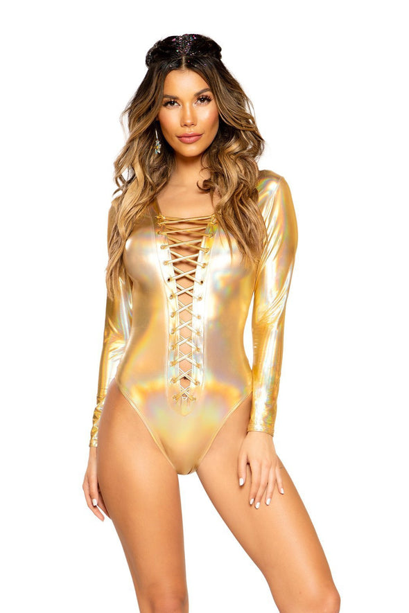 Long Sleeved Metallic Lace-up Bodysuit