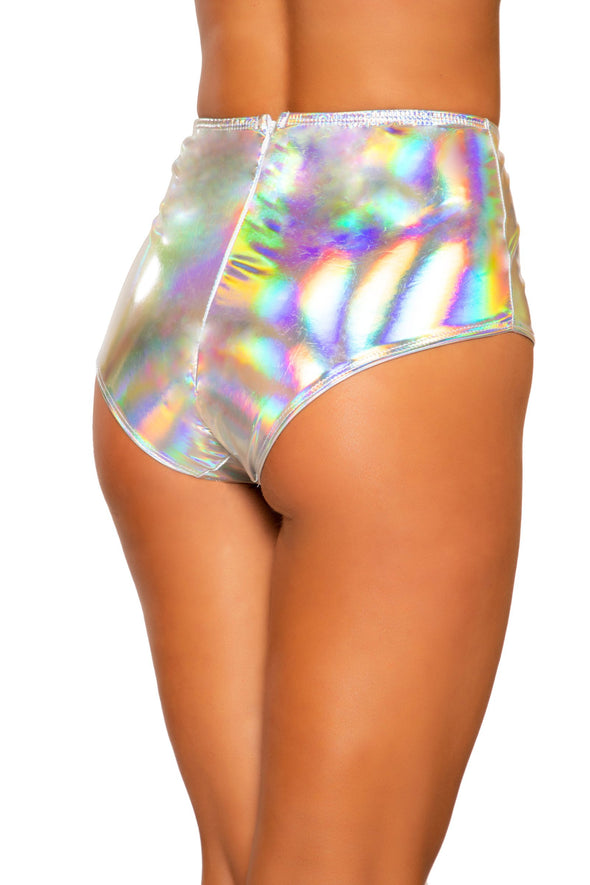 Iridescent High-Waisted Shorts with Zipper Closure